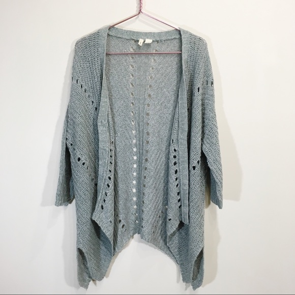 Anthropologie Wool Knit Small Long Green Cardigan